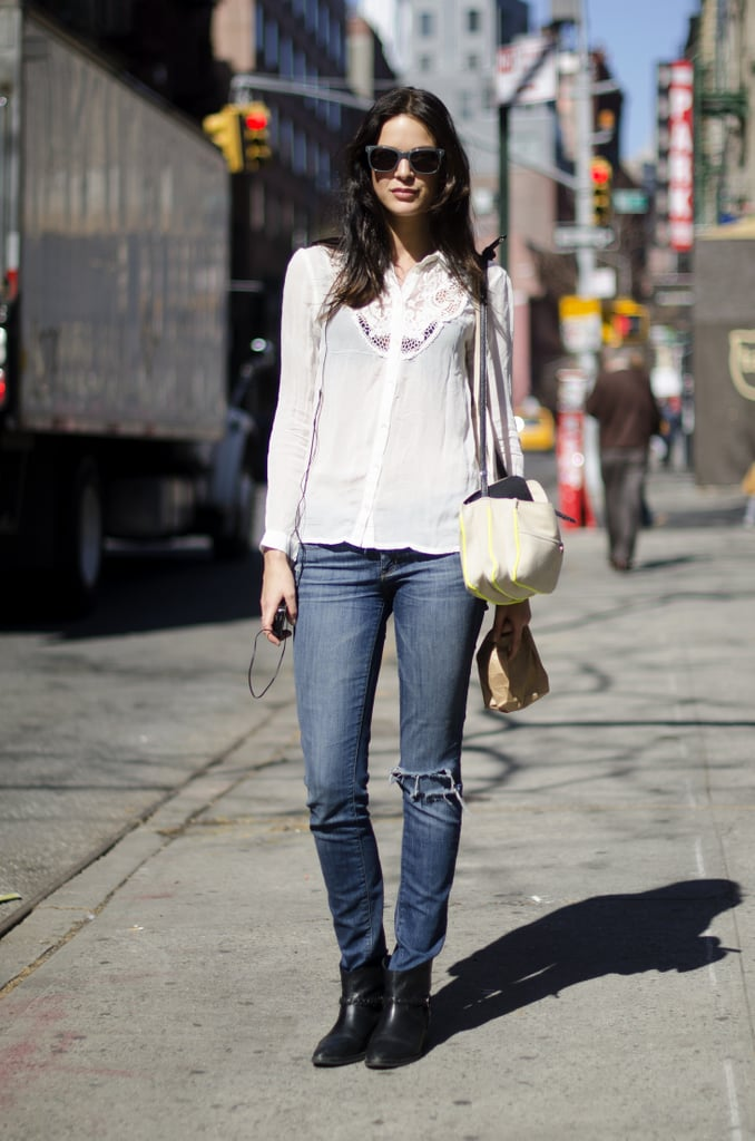 Juxtaposing a semisheer top against staple denim is pretty much a no-fail way to nail effortless polish.