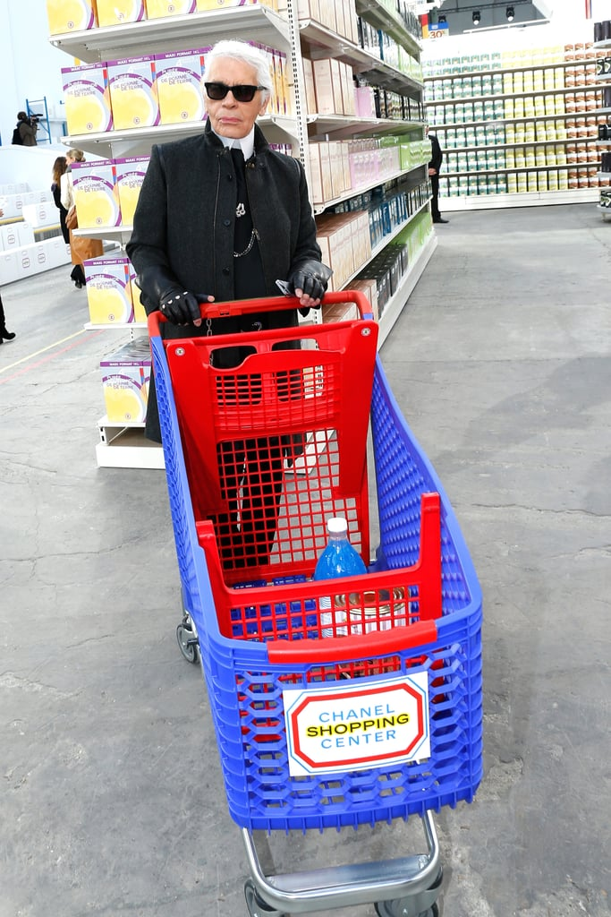 Karl showed off his shopping cart.