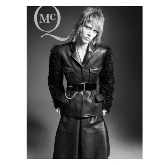 Wide belts and structured leather show up in spades for McQ by Alexander McQueen Fall 2012.