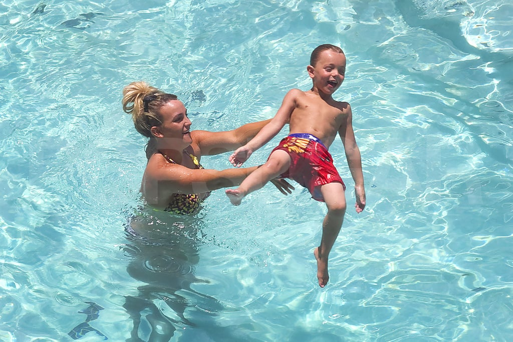 Jamie Lynn Spears plays in a pool with Jayden James Federline.