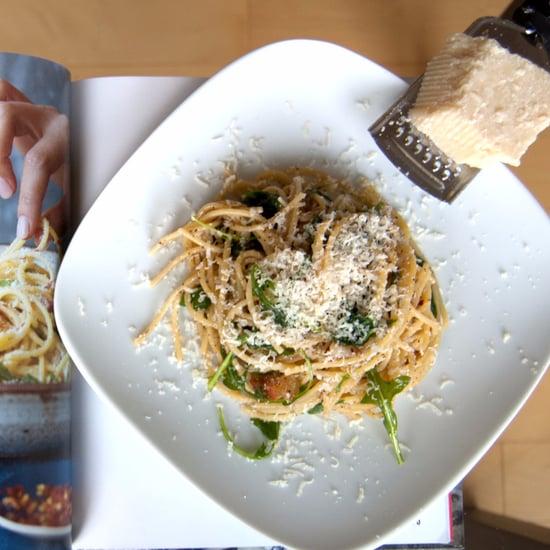 Lemony Arugula Spaghetti Cacio e Pepe Recipe