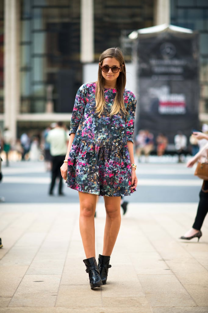 Florals look decidedly Fall-ready on a sweet dress that's paired with buckled ankle boots. Source: Adam Katz Sinding