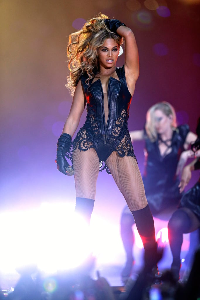 Beyoncé stole the Super Bowl show in a very revealing lace-and-leather bodysuit by new designer Rubin Singer and Proenza Schouler booties.