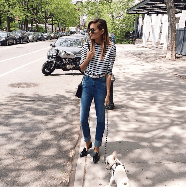 Play right into the classic feel of your stripes with high-waisted denim and a pair of chic flats.  Source: Instagram user weworewhat
