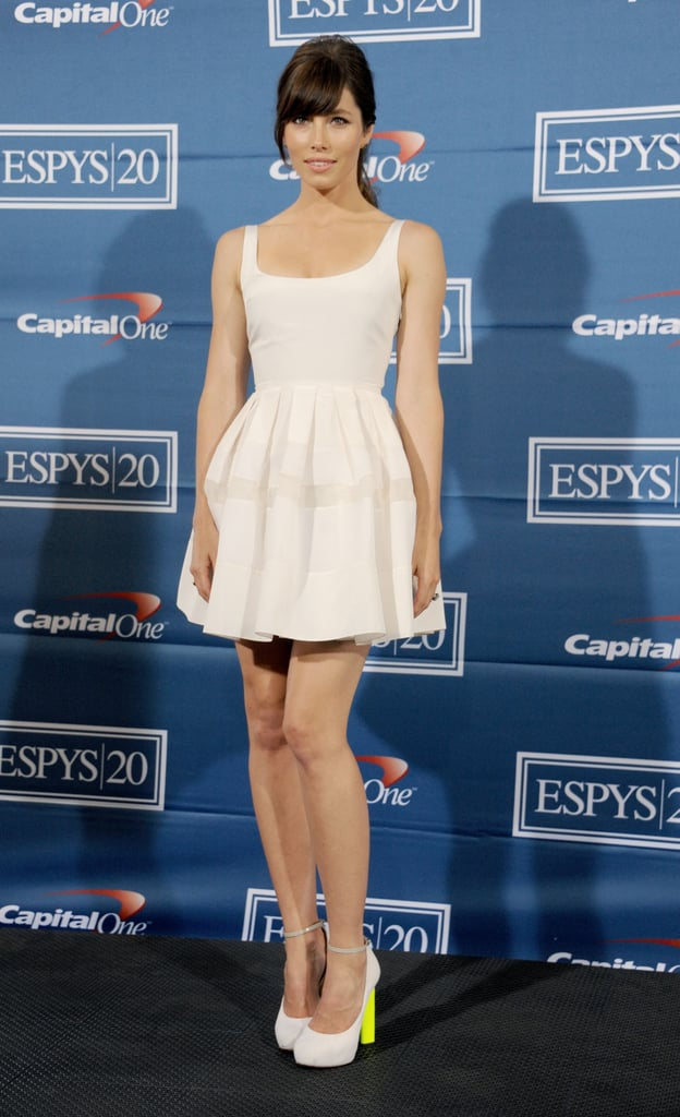 Jessica Biel paired her white Christian Dior fit-and-flare dress with sassy ankle-strap Nicholas Kirkwood pumps at the 2012 ESPY Awards in LA. Check out those neon-yellow heels!