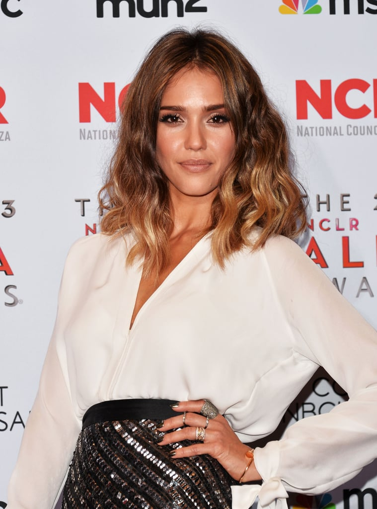 Jessica Alba struck a pose on the ALMA Awards red carpet.
