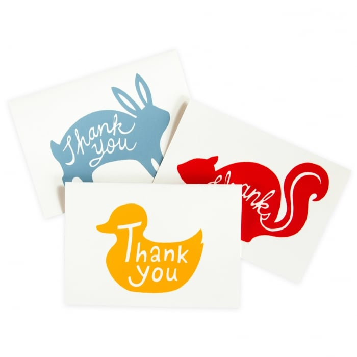 The animal thank yous ($17 for a set of six) by Beau Ideal Editions come in three playful designs.