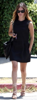 Rachel Bilson Wearing Black Dress and Rag and Bone Wedges