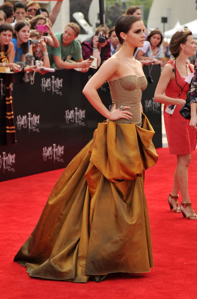Emma Watson on the red carpet at the Harry Potter and the Deathly Hallows Part 2 premiere in NYC.