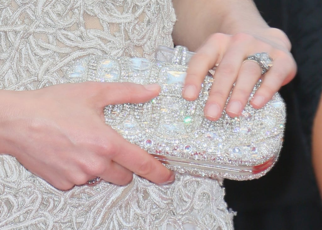 Jessica Biel carried a Marchesa clutch.