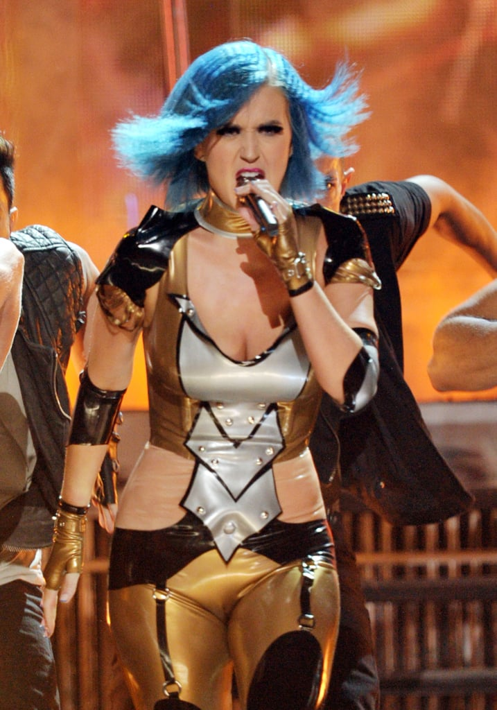 Katy Perry wore a futuristic costume for her energetic routine.