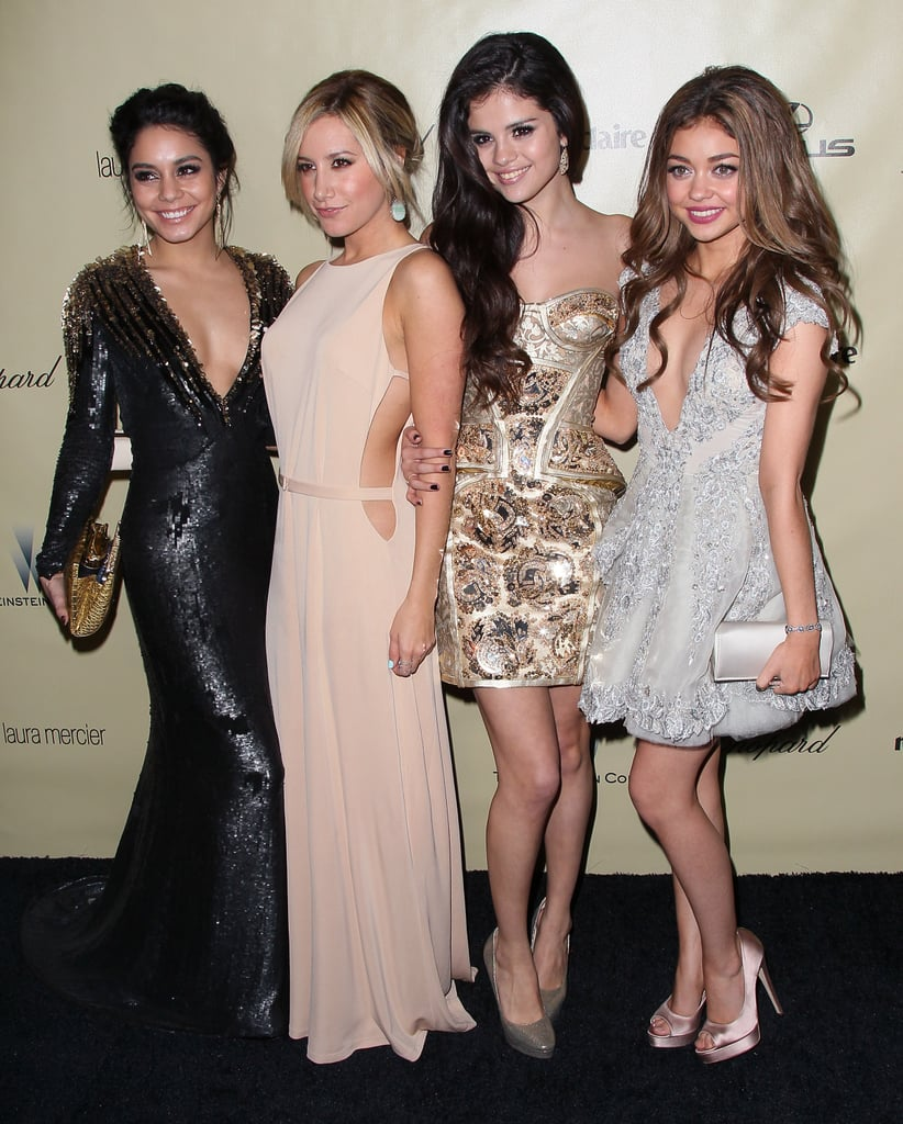 Vanessa Hudgens, Ashley Tisdale, Selena Gomez, and Sarah Hyland posed on their way into the Weinstein Company party.