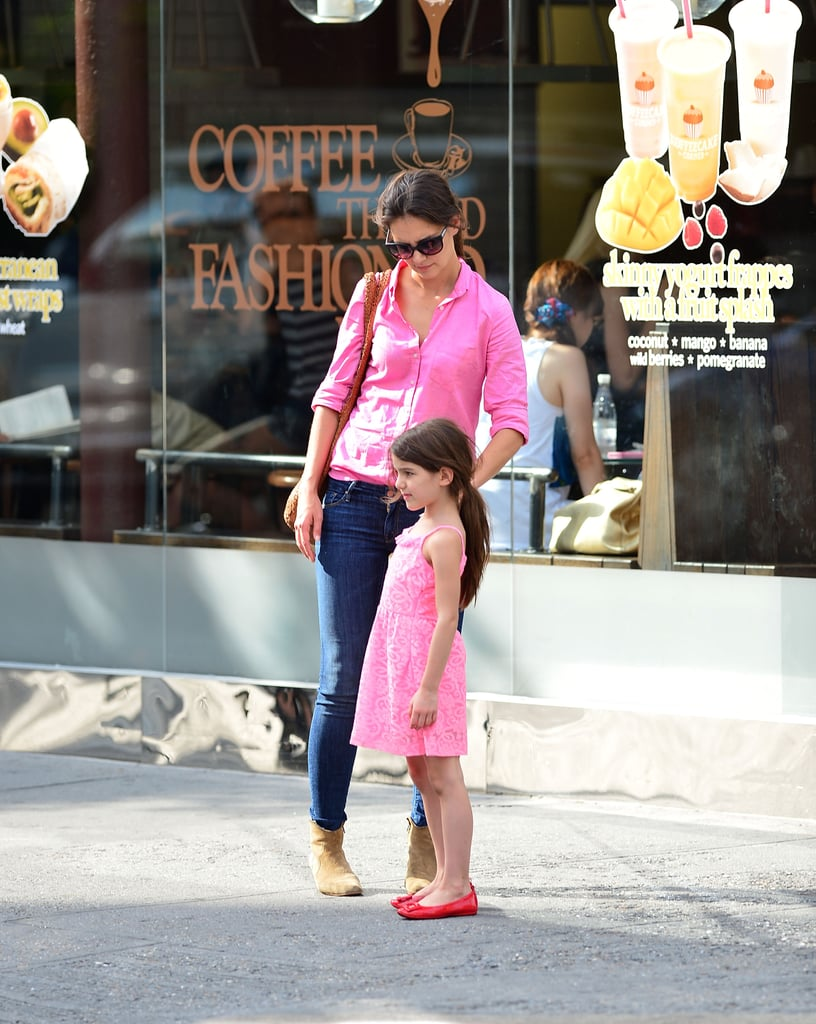 Katie Holmes and Suri Cruise were pretty in pink in NYC.