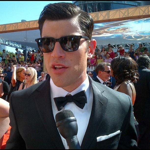 Nominee Max Greenfield arrived still wearing his sunglasses. Source: Instagram user usatoday