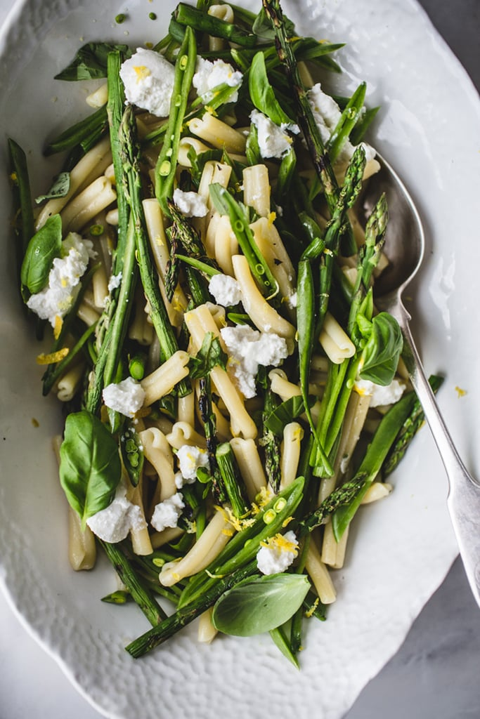 Casarecce With Grilled Asparagus, Sugar Snap Peas, and Ricotta