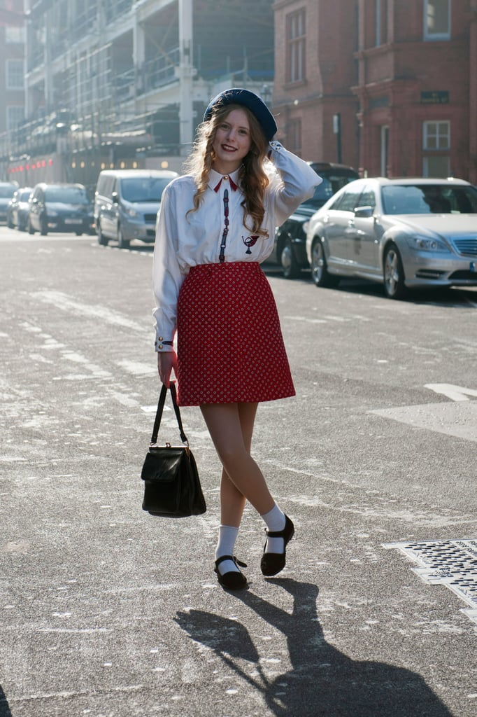 All schoolgirl-inspired sweetness with socks, Mary Janes, and a printed A-line miniskirt.