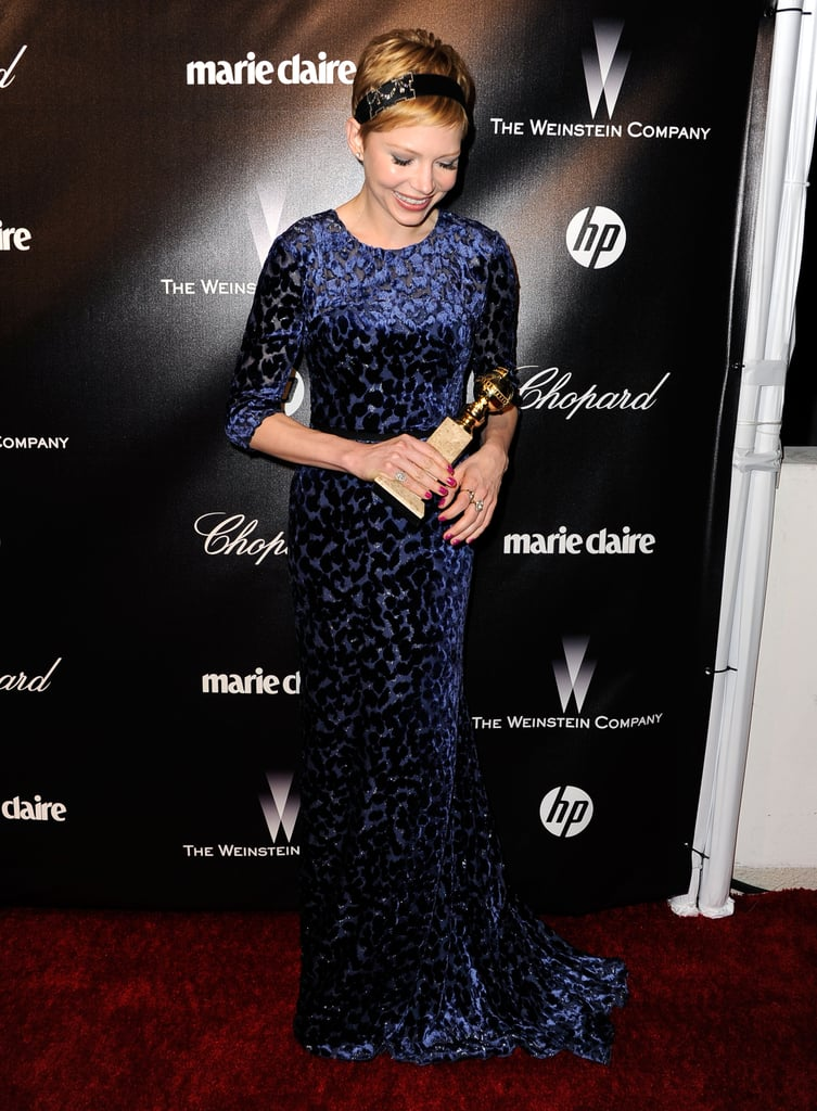 Michelle Williams smiled in her Jason Wu dress at the Weinstein Company's 2012 Golden Globe Awards after party.