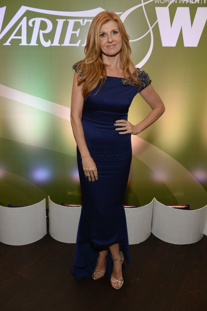 Connie Britton shined in a blue embellished high-low Marchesa gown at the Variety and Women in Film pre-Emmys bash.