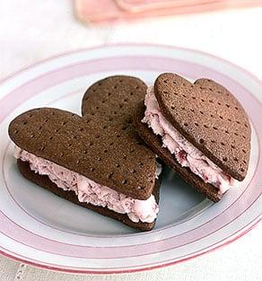 Heart Shaped Chocolate Strawberry Ice Cream Sandwiches