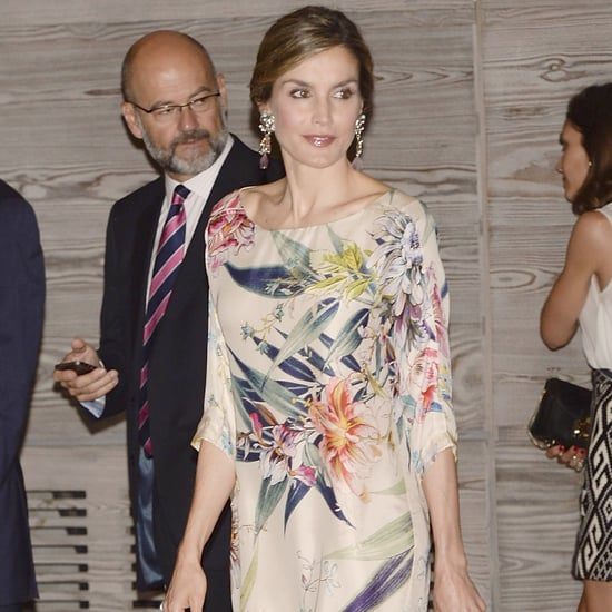 Queen Letizia's Floral Three-Quarter Sleeve Dress July 2016