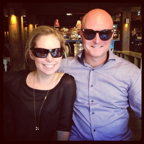 Ali and Ben swap shades at lunch — Versace suits him, no?