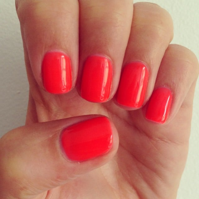 Alison's gel polish got plenty of attention this week — it's like Summer in liquid form! It's Gelish in Tiger Blossom, and it's even better in real life.