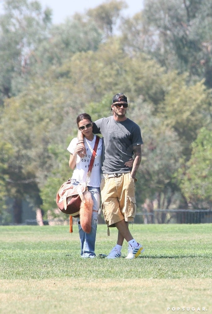The couple checked out their son Brooklyn's LA soccer game in September 2010.
