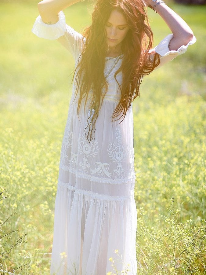 Free People Embroidered White Maxi Dress