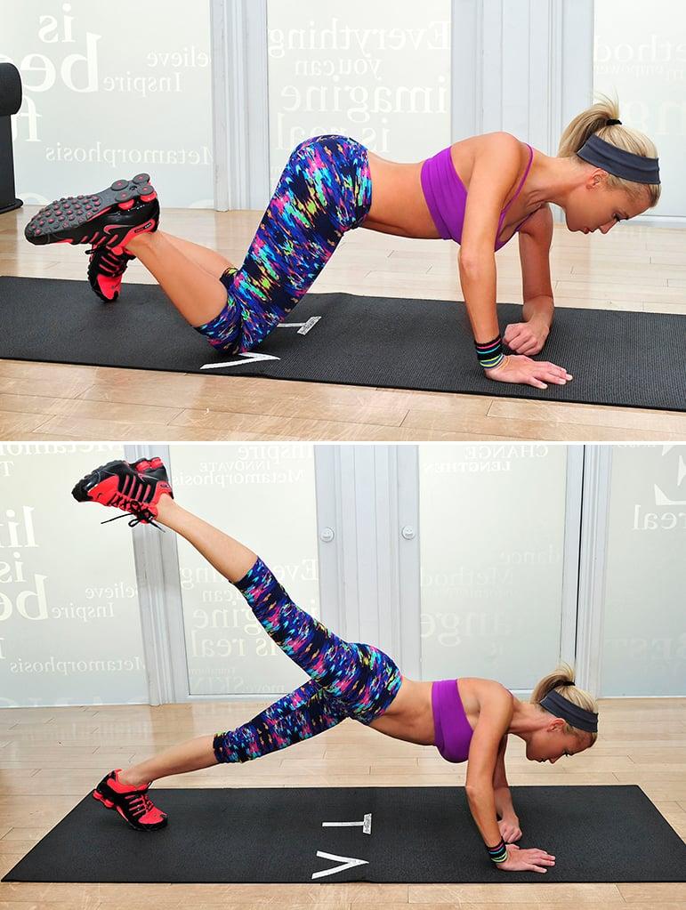 Exercise 1: Kneeling Knee-Touch to Single-Leg Plank Kick