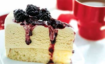Malted Milk Ice Cream Cake With Blackberry Topping