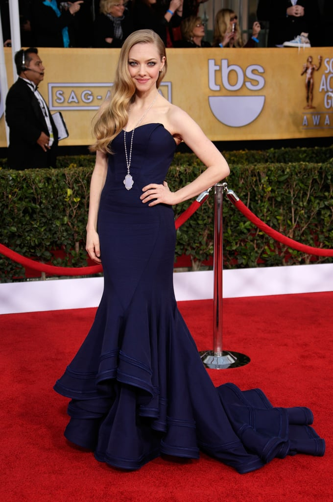 We're not going to say we've never seen Amanda Seyfried look more stunning, but, we've never seen Amanda Seyfried look more stunning. This navy Zac Posen confection fit her like a glove and her diamond pendant necklace and studs, by Lorraine Schwartz, added the perfect amount of sparkle.
