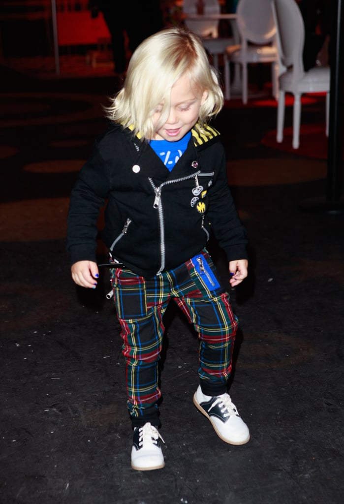 Zuma Rossdale wore some plaid pants from the collection.