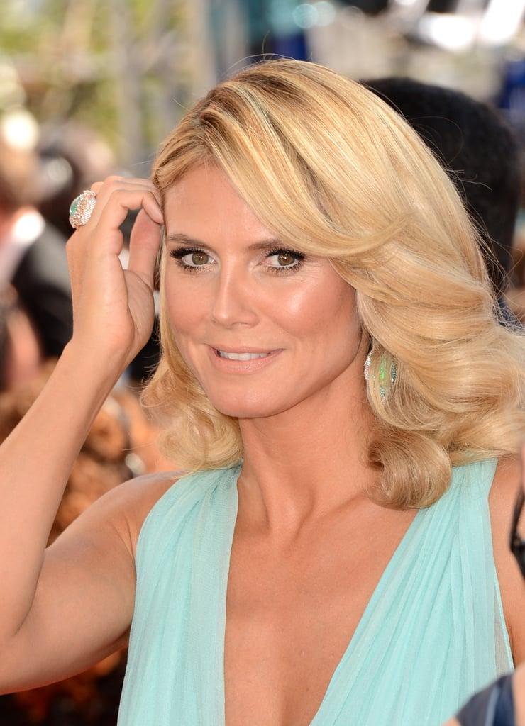 Heidi Klum wore a mint dress to the Emmy Awards.