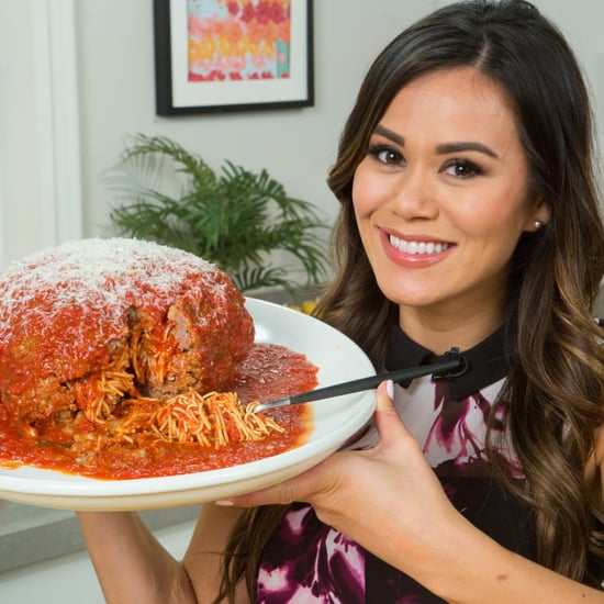 Spaghetti-Stuffed Giant Meatball