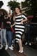 Khloé Kardashian wore a striped dress to a family dinner on Wednesday.