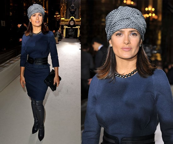 Salma Hayek Wears a Turban to Paris Fashion Week