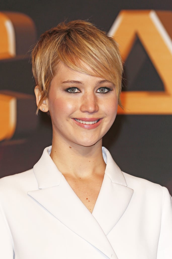 For the German premiere, Jennifer Lawrence opted for a polished pixie with sideswept bangs and well-defined eyes.