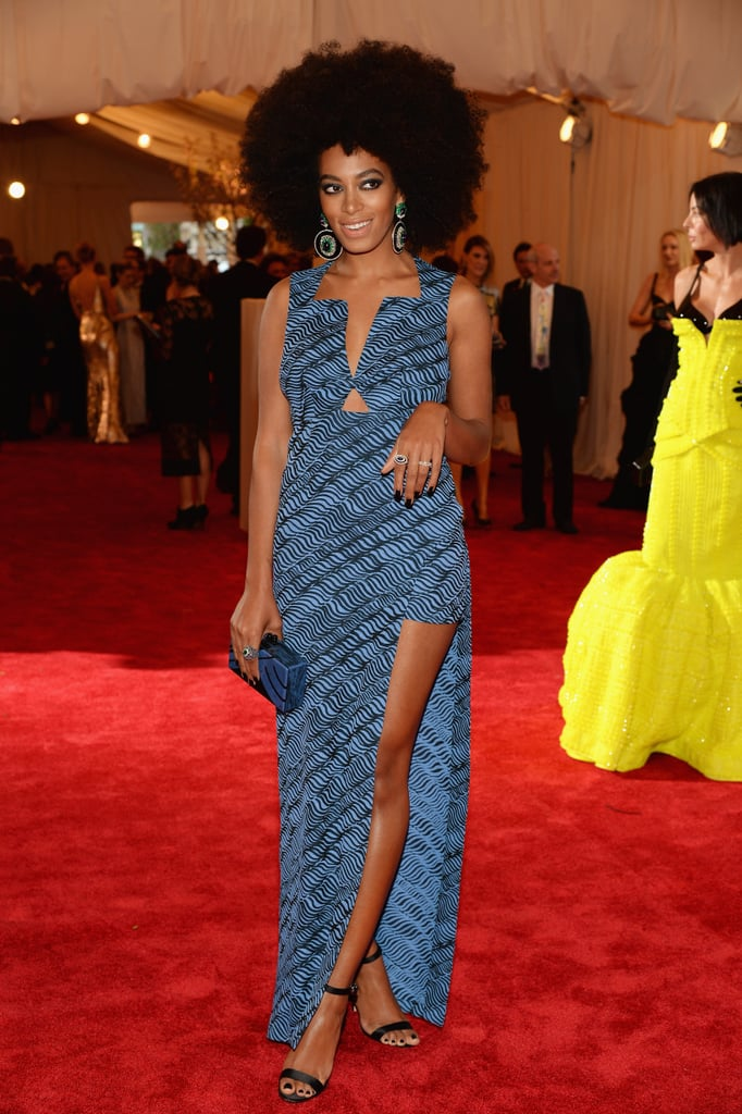 Solange Knowles's custom Kenzo dress played with proportions with its thigh-high slit.