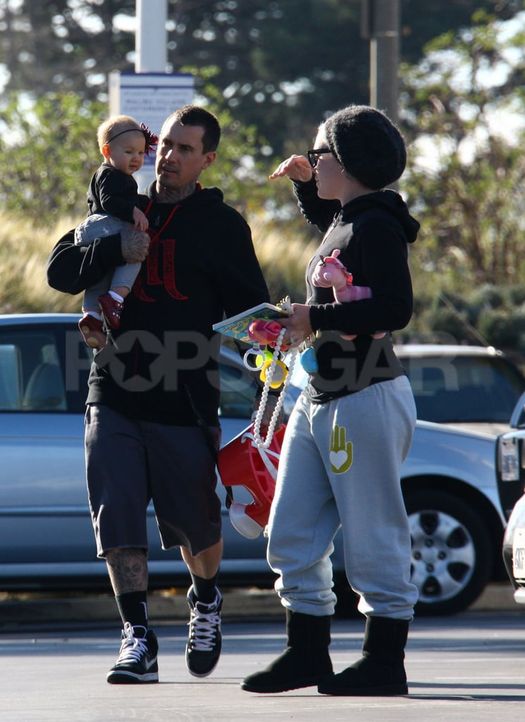 Pink checked in on her daughter, Willow Hart, who was being carried by Carey.