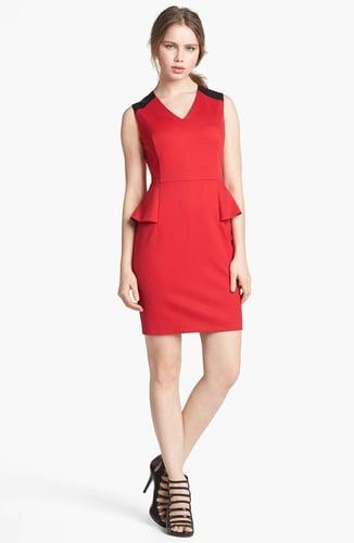Vince Camuto Faux Leather Shoulder Detail Peplum Dress