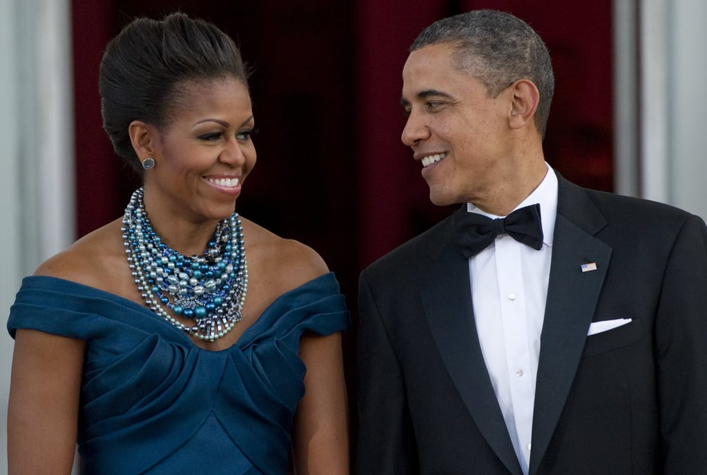 Barack looked over at Michelle with a sweet expression before a state dinner in March.