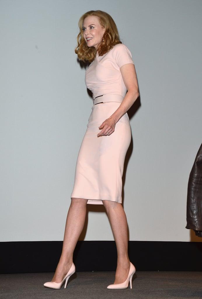 Nicole Kidman exuded ladylike glam in her pink dress.