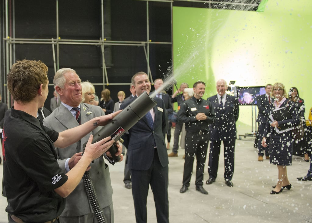 Prince Charles powered a snow gun while on set with the Doctor Who crew.