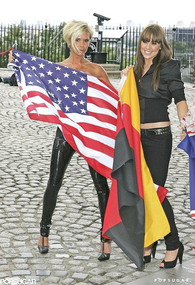 """British Victoria Beckham showed her American pride in London in June 2007 next to Melanie """"Mel C"""" Chisholm, who carried the German flag."""