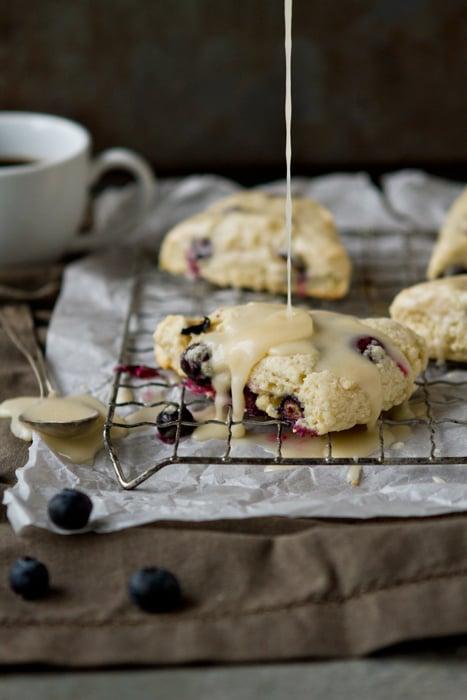 Blueberry Scones With Vanilla Glaze
