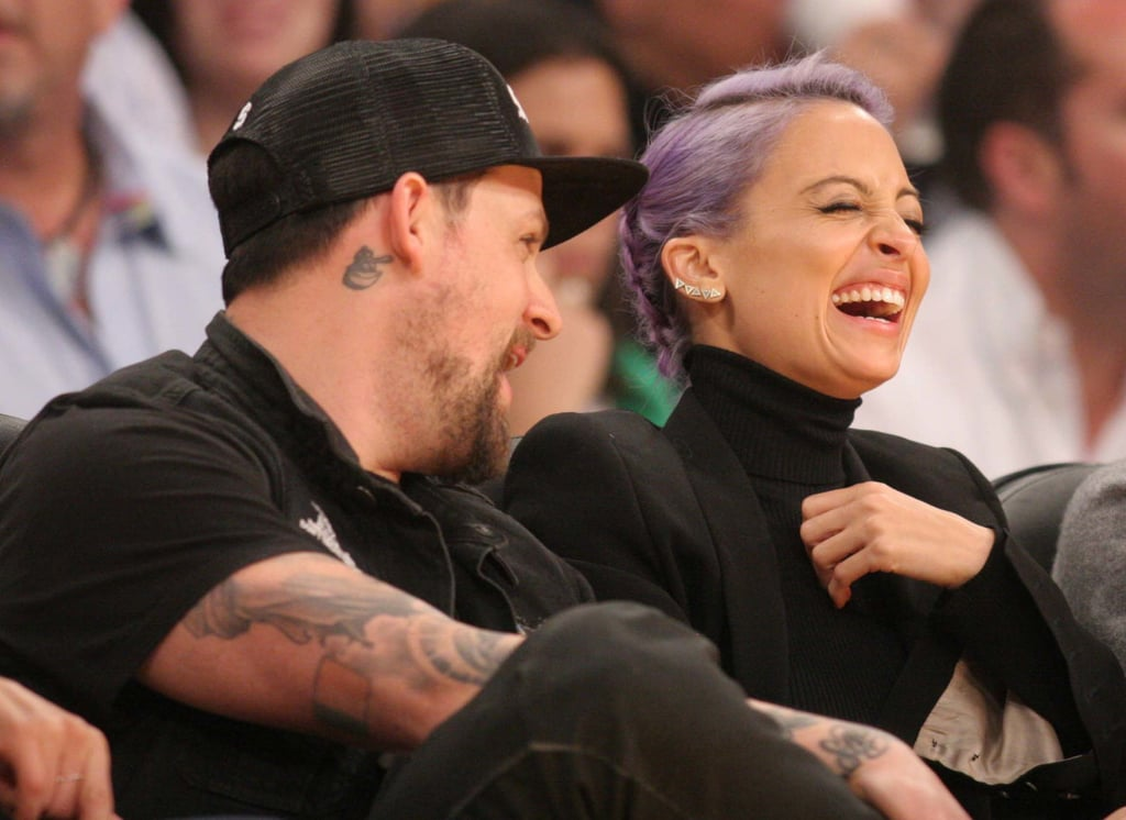 Nicole Richie had a giggle fest with Joel Madden at an LA Lakers game.