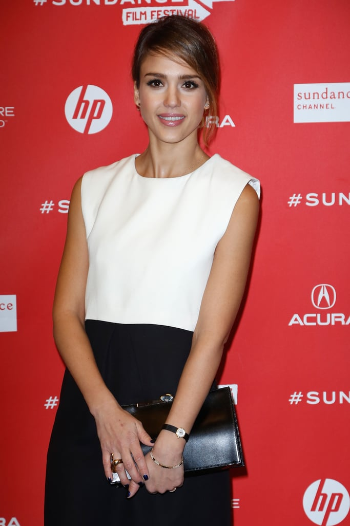 Jessica Alba smiled at Sundance on Wednesday.