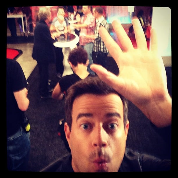 Carson Daly clowned around in between takes at The Voice. Source: Instagram user carsondaly