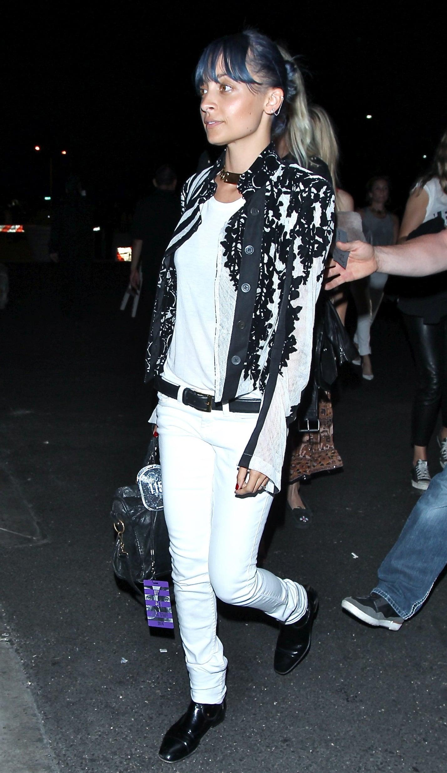 Nicole Richie flew solo to the Saturday gig.