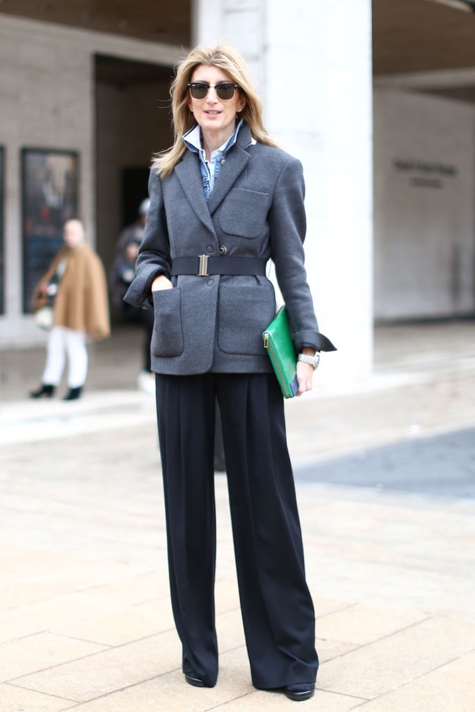 A menswear-style mix with easy trousers and a pop of color caught our attention outside the tents.